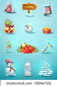 Set of fairytale characters and items for the celebration of Merry Christmas