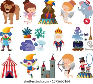 Set of fairytale characters on white background illustration