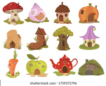 Set of fairytale houses. Collection of cartoon houses in the shape of pumpkins, teapots, boots or mushrooms. Colorful illustration of housing for fairytale characters. Drawing with kids.