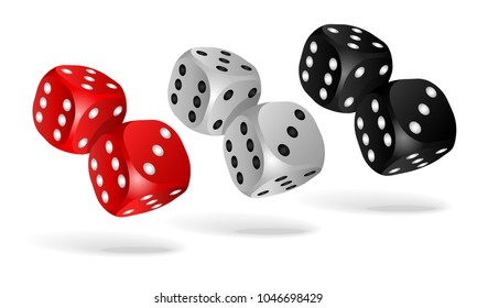 Set of falling dice isolated on white. Two white, red and black dices. Casino gambling template concept. Vector illustration