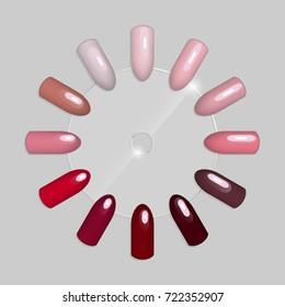Set of false nails for manicure. Tips. Varnish color palette for nail extension. Artificial nails on transparent basis.