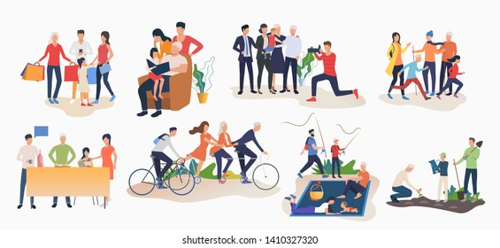 Set of family activities. Children and parents cycling, doing shopping, going fishing, gardening. Leisure concept. Vector illustration can be used for topics like summer, people, hobby