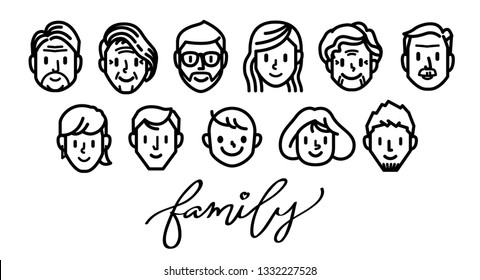 Set of family face icons. Line vector.
