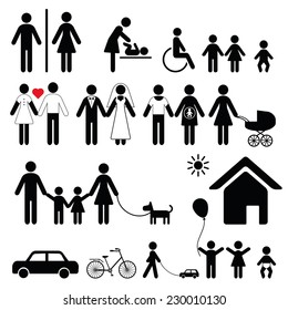 Set of family icons and signs for public places