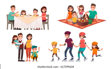 Set of family leisure. Lunch at home, picnic in nature, walk in outdoor, roller skating. Vector illustration in a flat style