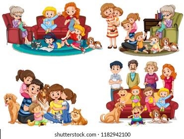 A set of family member illustration