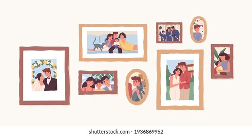 Set of family photo portraits in frames. Memorable pictures of happy parents and children at important moments and events in life. Colored flat vector illustration of photographs or snapshots