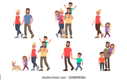 Set of family portraits. Walking outdoors in the park. Couple, father and son, mother and daughter, and all together. Vector illustration in cartoon style