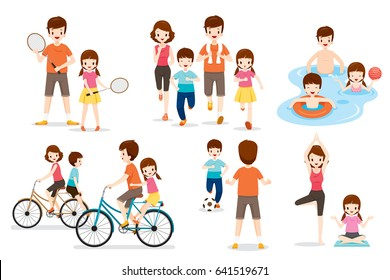Set Of Family With Various Exercise And Sports Activities, Healthy, Physical Health, Daily Routine, Lifestyle
