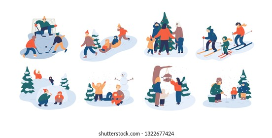 Set of family winter leisure activities. Mother, father and child having fun outdoors together - playing ice hockey, feeding birds, fishing, throwing snowballs. Flat cartoon vector illustration.