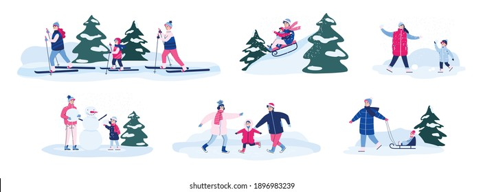 Set of family winter seasonal outdoor activities, cartoon vector illustration isolated on white background. Family with children spending time outdoors in winter.