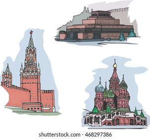 Set of famous buildings sights on Red square in Moscow, Russia: The Lenin's Mausoleum, The Spasskaya Clock Tower and The St. Basil's Cathedral. Set of vector illustrations.