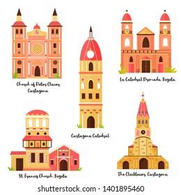 Set of famous landmarks of Bogota, Cartagena in Colombia. Vector cartoon illustration