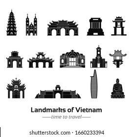 set of famous landmarks of Vietnam silhouette style with black and white classic color design,vector illustration