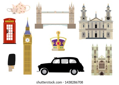 Set of famous london symbols. Royal family crown, 5 o'clock tea, cab, guard, big ben, westminster, st pauls cathedral, tower bridge, red telephone box.