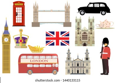 Set of famous london symbols. Royal family crown, 5 o'clock tea, cab, quenns guard, big ben, westminster, st pauls cathedral, tower bridge, red telephone box, doubledecker bus, fish and chips. Vector