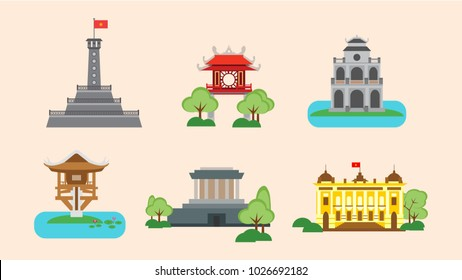 Set of famous places in Hanoi Vietnam in vector design with colorful colors. Modern flat design illustration