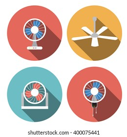 Set of fan icons in flat style, vector object