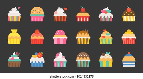 Set of fancy cup cake, flat design icon