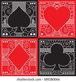 A set of fancy poker suits in vector format. This collection includes ornate illustrations of spades, hearts, diamonds and clubs.