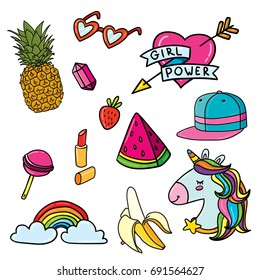 Set of fancy stickers summer feminism unicorn design: pineapple, unicorn, watermelon, banana, rainbow, diamond, lipstick, snapback hat, heart shaped glasses, girl power heart pin, strawberry set