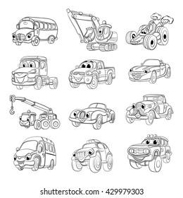 Set of fanny cartoon transport. Coloring book.
