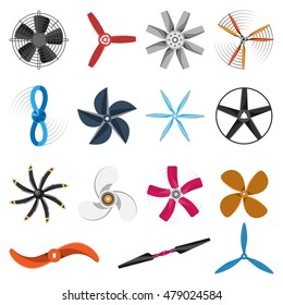 Set of fans and propellers icons isolated vector object