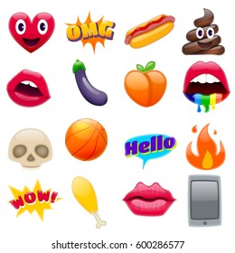 Set of Fantastic Cute Smiley Emoticons, Chic Emoji Design Set. Bright Icons of Lips. Fire, Hello Expression, Cellphone, Eggplant, Peach, Hot Dog, Chicken Leg, Skulls. Stickers and Patches