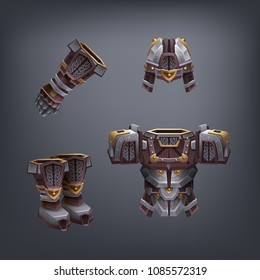 Set of fantasy armor for game. Vector illustration.