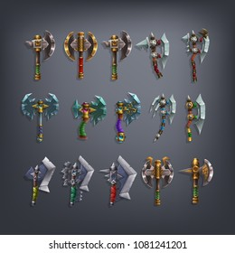 Set of fantasy battle axes weapon for game. Vector illustration.