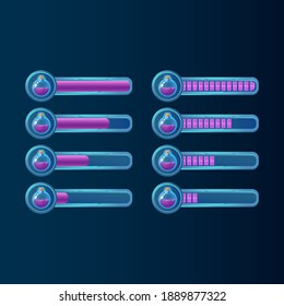 set of fantasy blue glossy gui potion magic bottle progress bar for game ui asset elements vector illustration