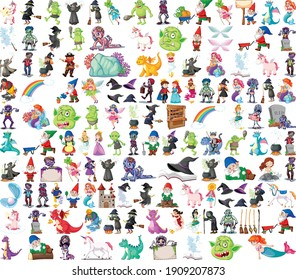 Set of fantasy cartoon characters and fantasy theme isolated on white background illustration