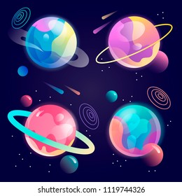 set of fantasy cartoon planets in space. vector illustration