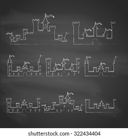 Set of Fantasy castles chalk silhouettes for design. Isolated on grey  background. Halloween party fantasy castles. Vector illustration