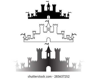 Set of Fantasy castles silhouettes for design. Vector illustration