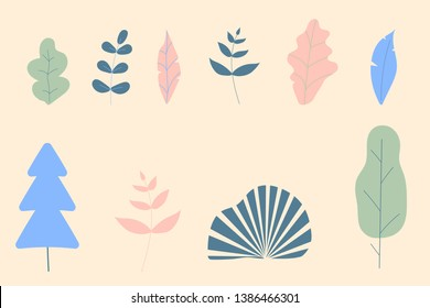 Set of fantasy color leaves and trees for decoration office,concept and other modern fashion images.Vector illustration flat design