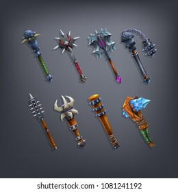 Set of fantasy cudgels and mace weapon for game. Vector illustration.