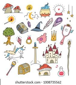Set of fantasy doodle element