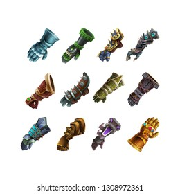 Set of fantasy gloves armor for game isolated on white background. Vector illustration.