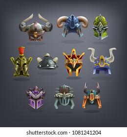 Set of fantasy helms armor for game. Vector illustration.