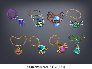 Set of fantasy jewelry decorations, amulets for game. Vector illustration.