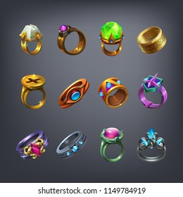 Set of fantasy jewelry decorations, rings for game. Vector illustration.