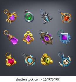Set of fantasy jewelry decorations, talisman for game. Vector illustration.