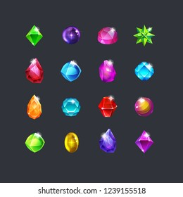 Set of fantasy jewelry gems, stone for game. Vector illustration.