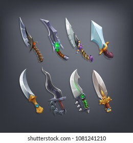 Set of fantasy knifes and blades weapon for game. Vector illustration.