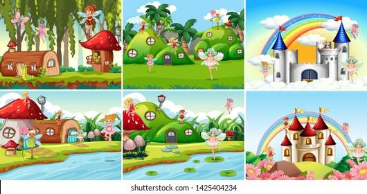 Set of fantasy landscape illustration