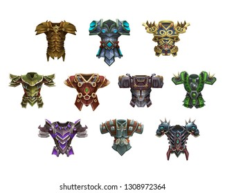 Set of fantasy mail and chest armor for game isolated on white background. Vector illustration.