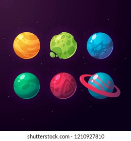 A set of fantasy planets for the design of games and applications.