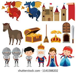 Set of fantasy queen and king set illustration