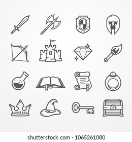 Set of fantasy role play PC game icons in line style. Sword battle axe shield warrior helmet bow castle diamond torch potion spell book scroll. Vector stock image